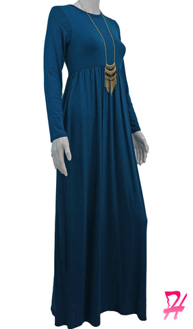 High Waist Long Sleeve Maxi Dress with Pockets - Teal