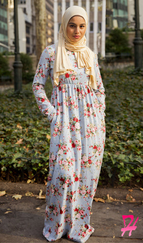 High Waist Long Sleeve Maxi Dress with Pockets - Blue Floral