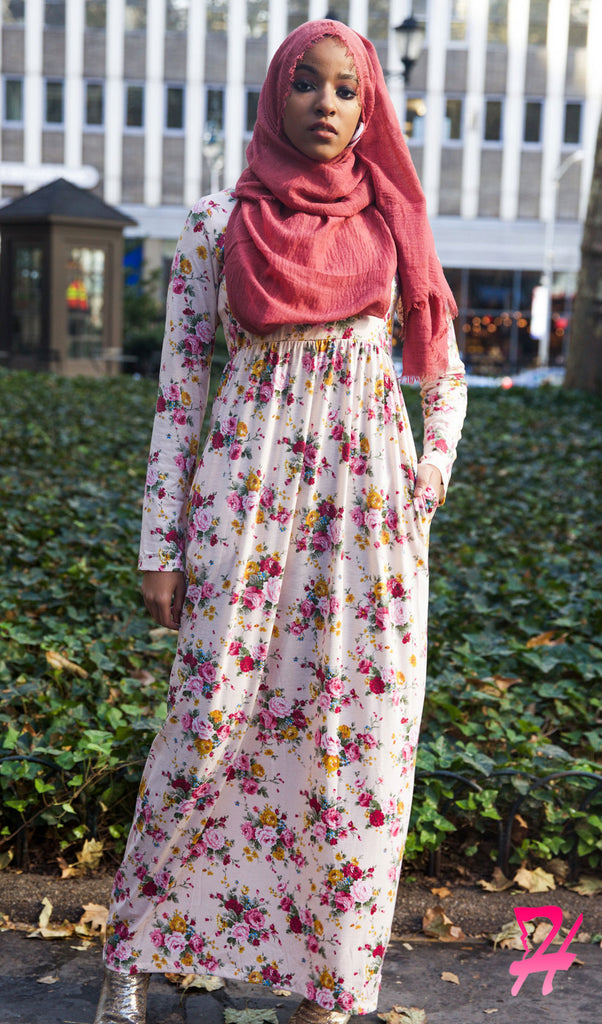 5778beed8 High Waist Long Sleeve Maxi Dress with Pockets - Pink Floral