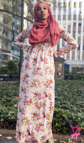 High Waist Long Sleeve Maxi Dress with Pockets - Pink Floral