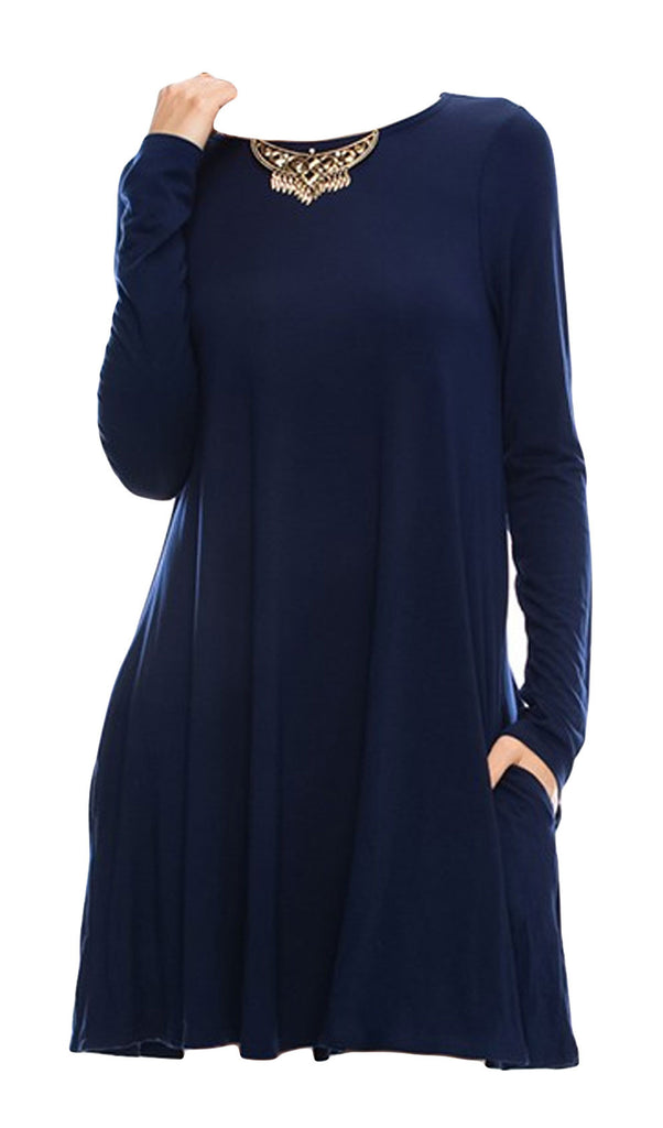 Swing Long Sleeve Dress with Pockets - Navy