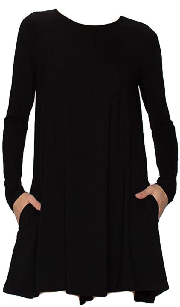 Swing Long Sleeve Dress with Pockets - Black