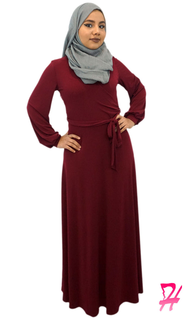 Wrap Long Sleeve Maxi Dress - Maroon