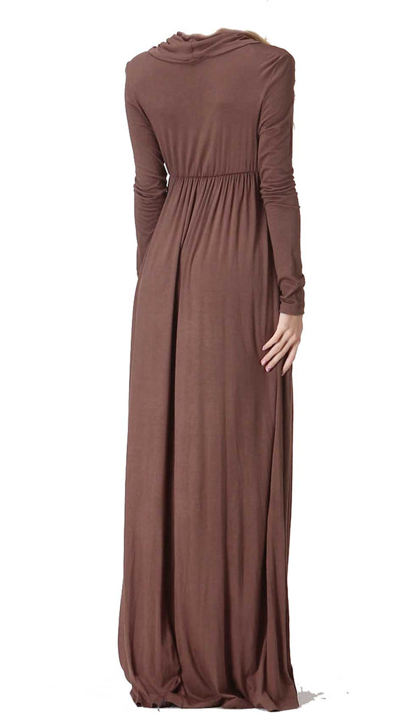 Mocha Brown Long Sleeve Maxi Dress