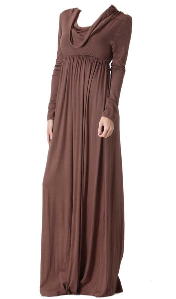 Long Sleeve Maxi Dress - Mocha Brown