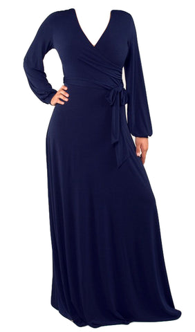 Wrap Long Sleeve Maxi Dress - Navy