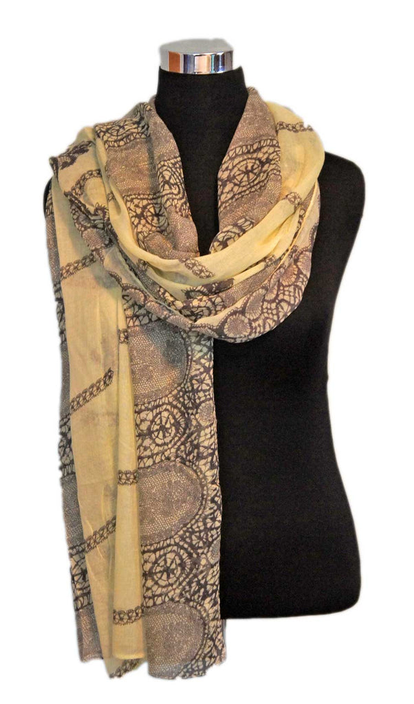 Pale Yellow Lace Print Hijab Scarf