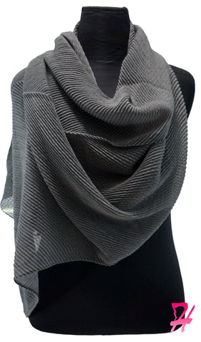 Pleated Hijab Scarf - Dark Gray