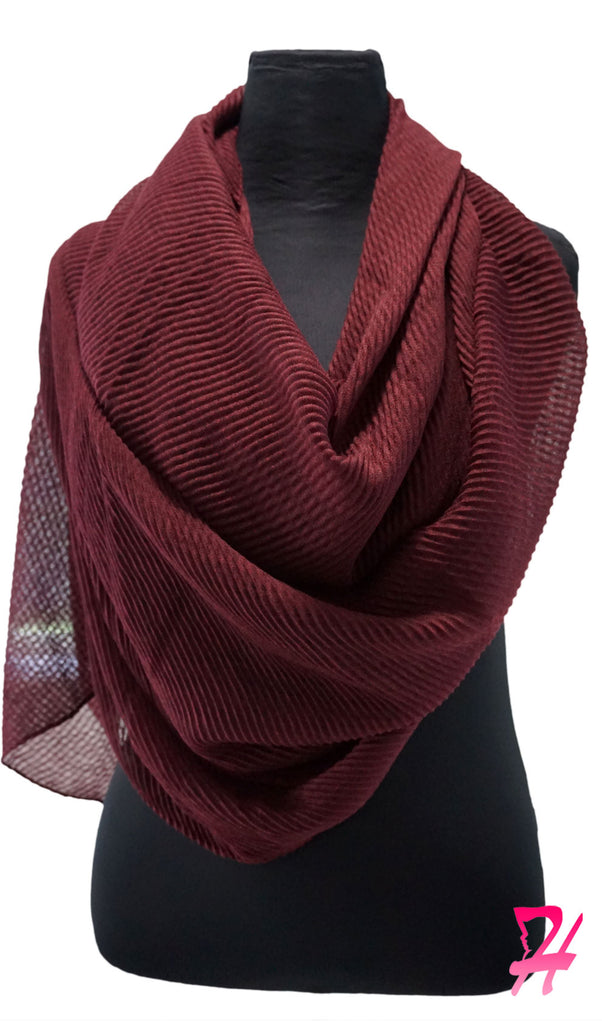 Pleated Hijab Scarf - Dusty Wine