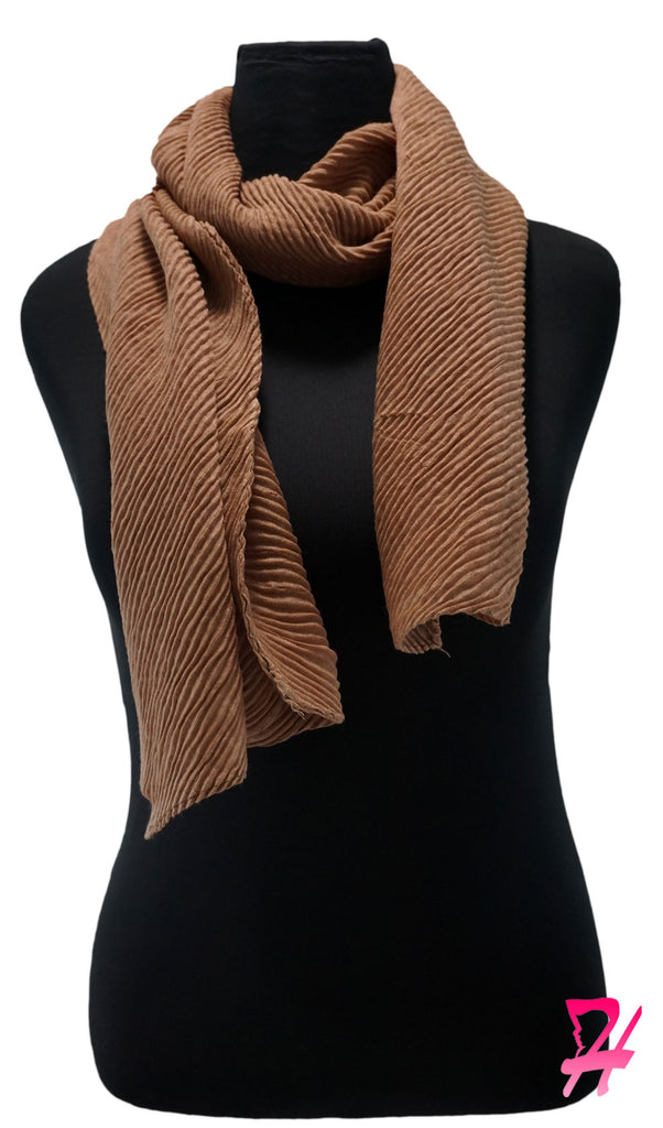 Pleated Hijab Scarf - Khaki