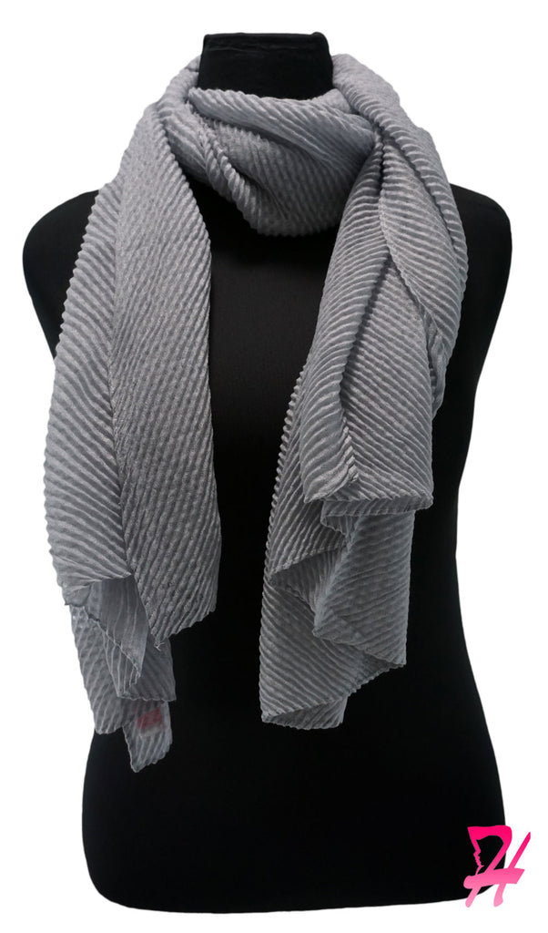 Pleated Hijab Scarf - Light Gray 2