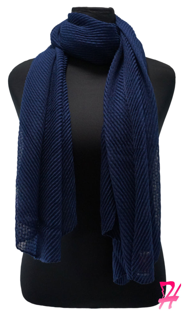 Pleated Hijab Scarf - Navy