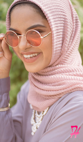 Pleated Hijab Scarf - Pale Mauve