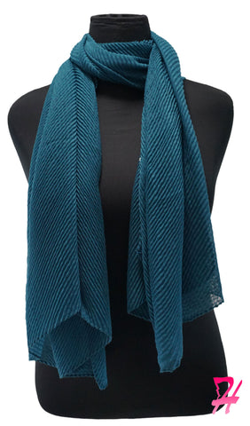 Pleated Hijab Scarf - Teal