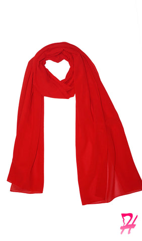 Premium Chiffon Hijab Scarf - High Risk Red