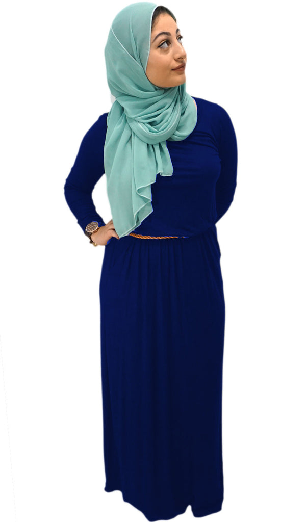 Belted Long Sleeve Maxi Dress with Pockets - Navy