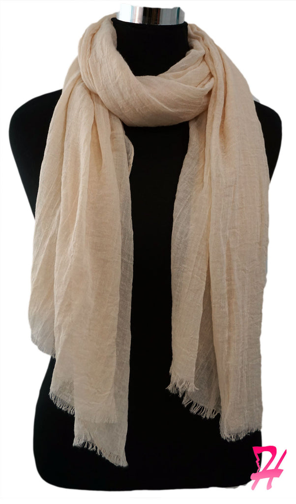 Raw Edge Cotton Hijab Scarf - Beige