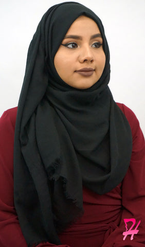 Raw Edge Cotton Hijab Scarf - Black