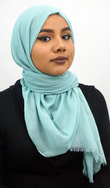 Raw Edge Cotton Hijab Scarf - Dusty Mint
