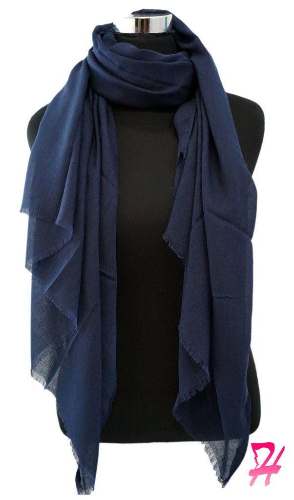 Raw Edge Cotton Hijab Scarf - Navy