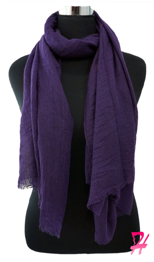Raw Edge Cotton Hijab Scarf - Purple