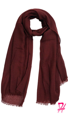 Raw Edge Cotton Hijab Scarf - Burgundy