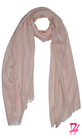 Raw Edge Cotton Hijab Scarf - Blush