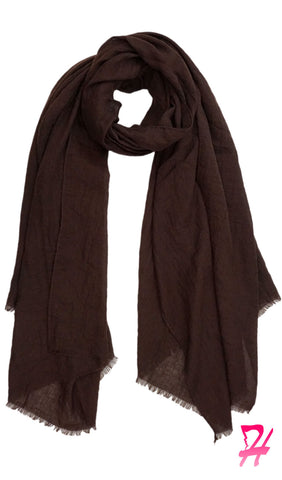 Raw Edge Cotton Hijab Scarf - Cocoa