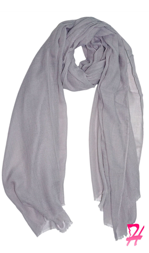 Raw Edge Cotton Hijab Scarf - Silver Gray