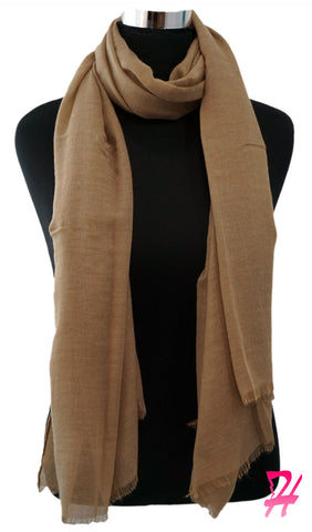 Raw Edge Cotton Hijab Scarf - Khaki