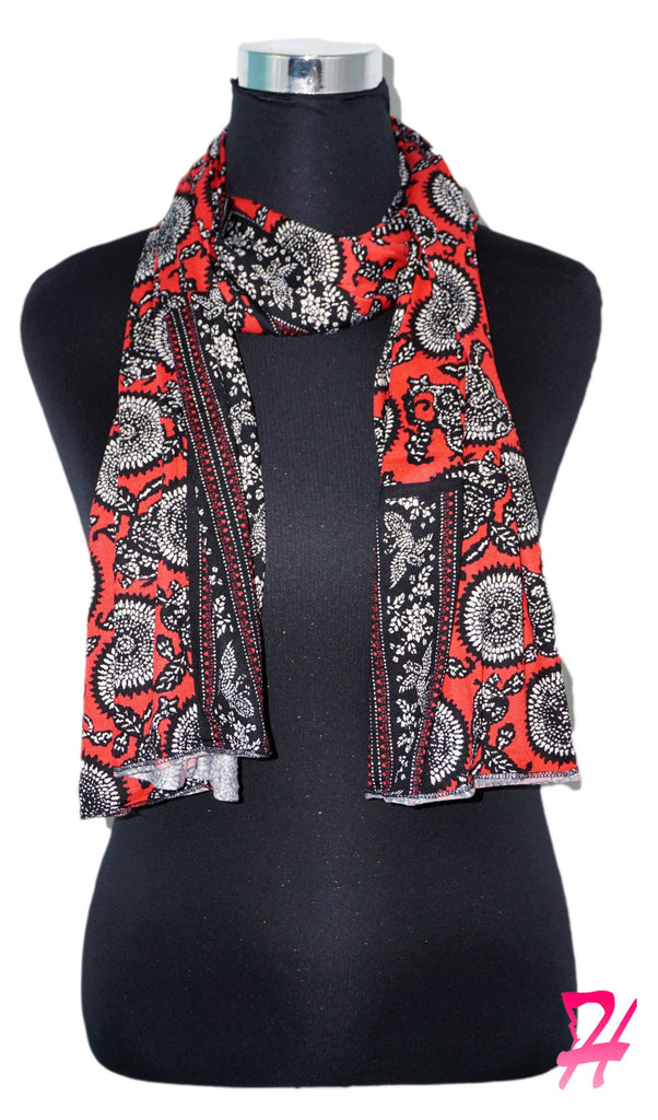 Print Jersey Hijab Scarf - Red Sunflower