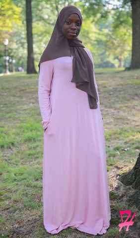 A-Line Long Sleeve Maxi Dress with Pockets - Petal Pink