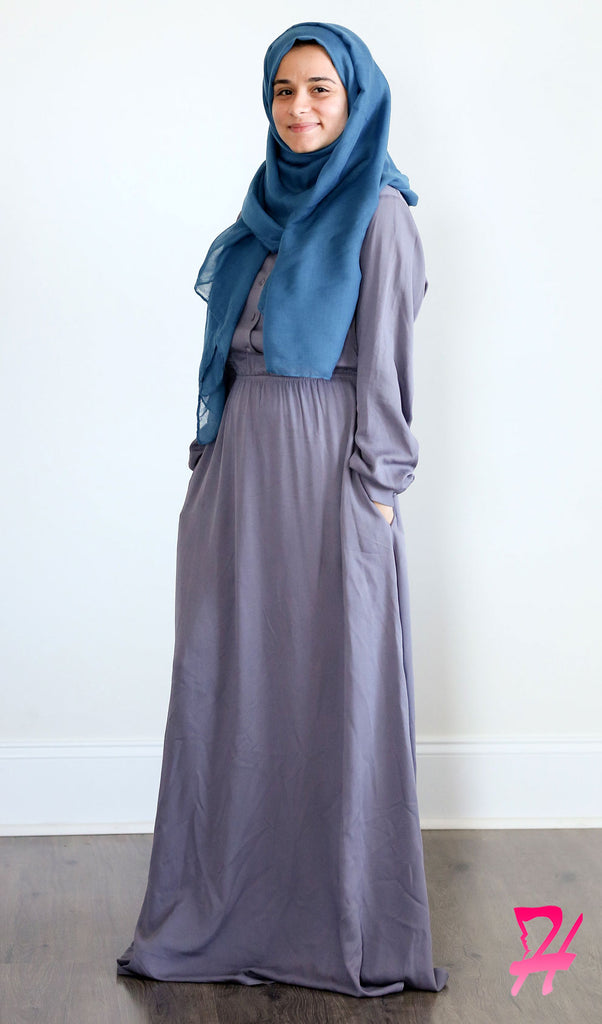 Sumaya Long Sleeve Maxi Dress - Slate Gray