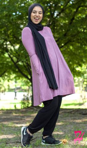 Swing Long Sleeve Dress with Pockets - Dark Mauve
