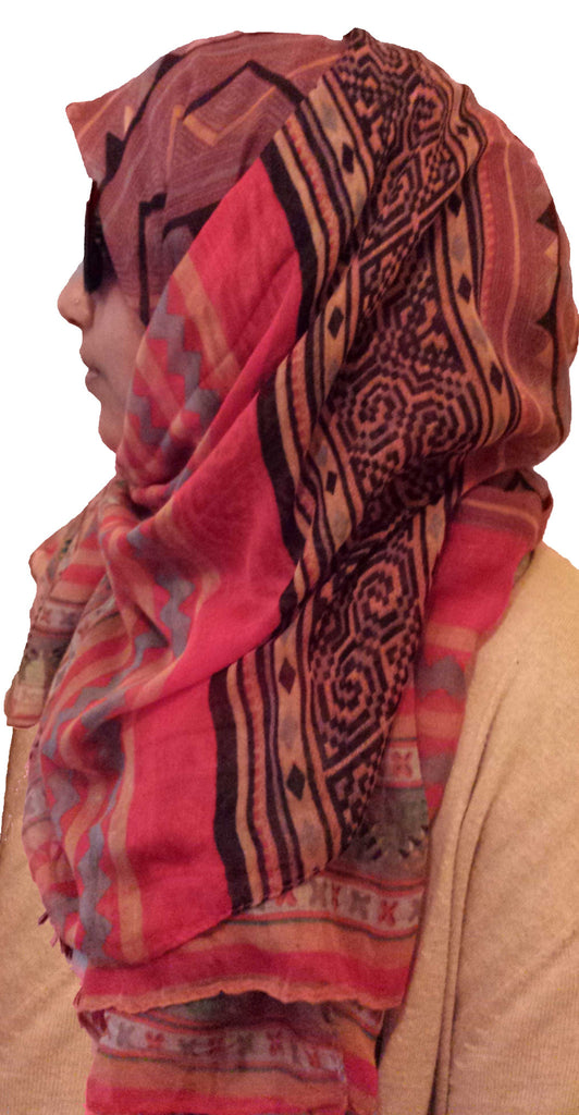 tribal print hijab red
