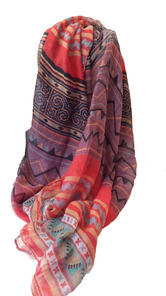 Tribal Print Hijab - Red