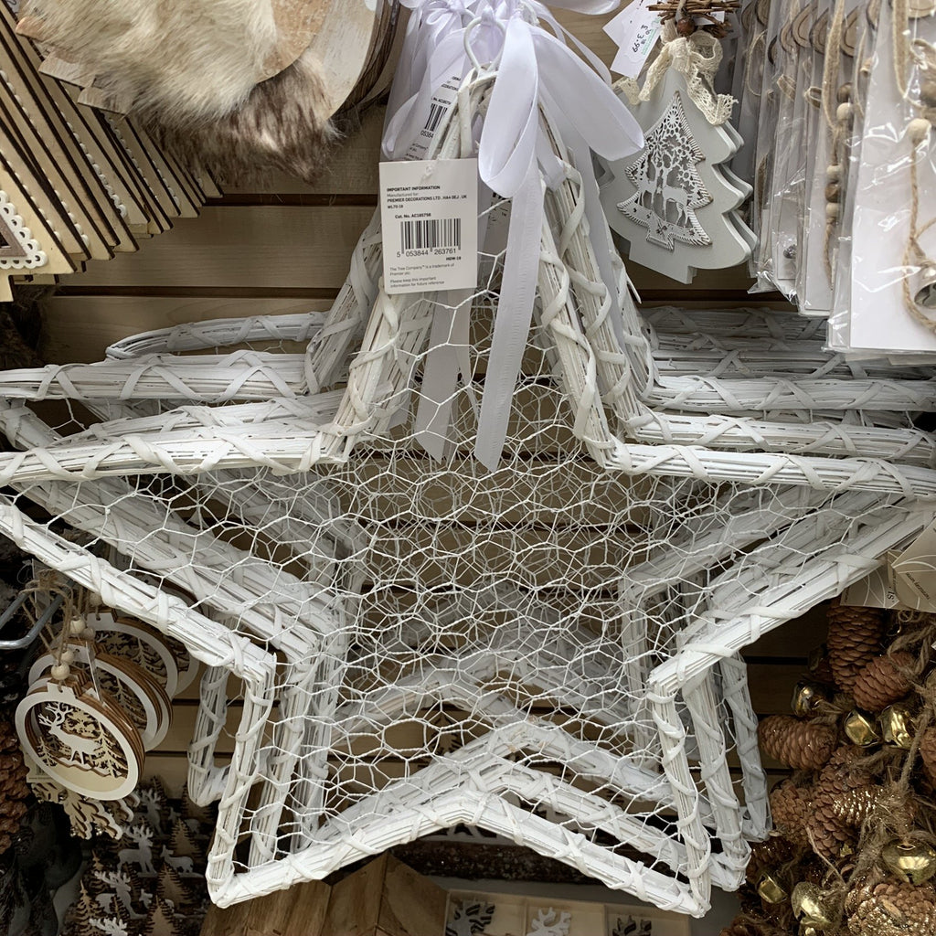 60CM WHITE WILLOW STAR CARD HANGER