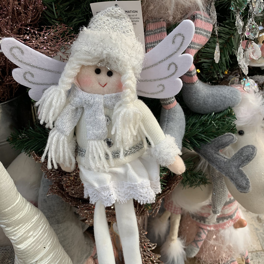 40CM WHITE GLITTER ANGEL