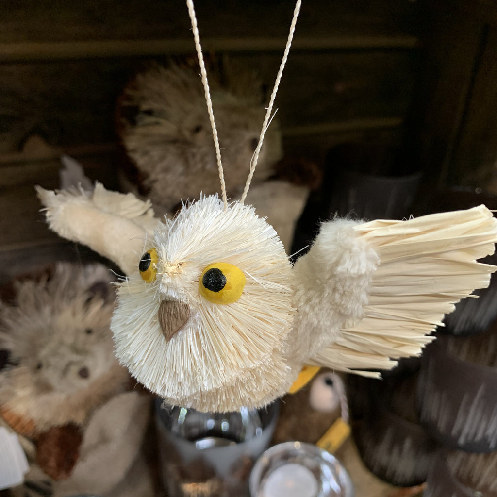 HANGING WHITE FLYING OWL