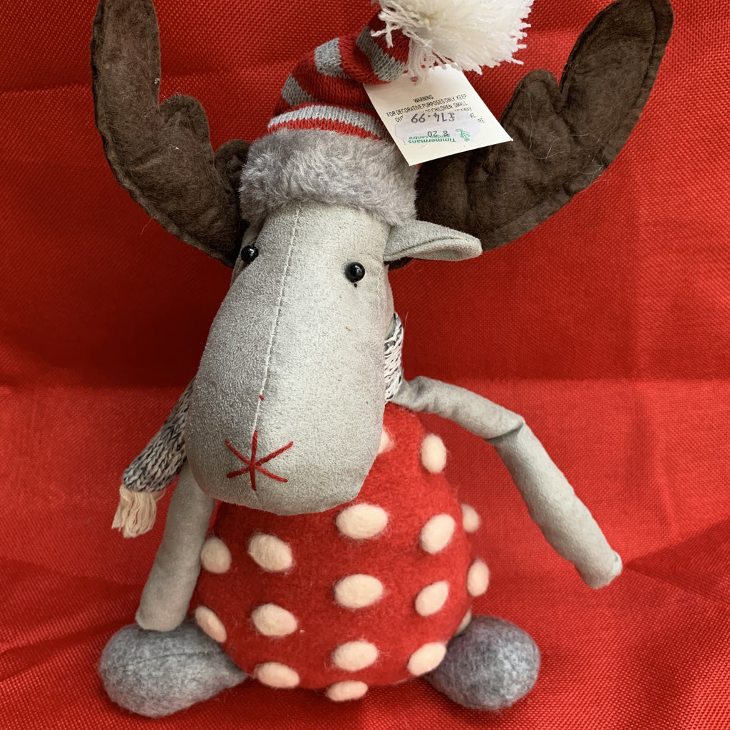SITTING GREY REINDEER WITH RED POM POM DRESS