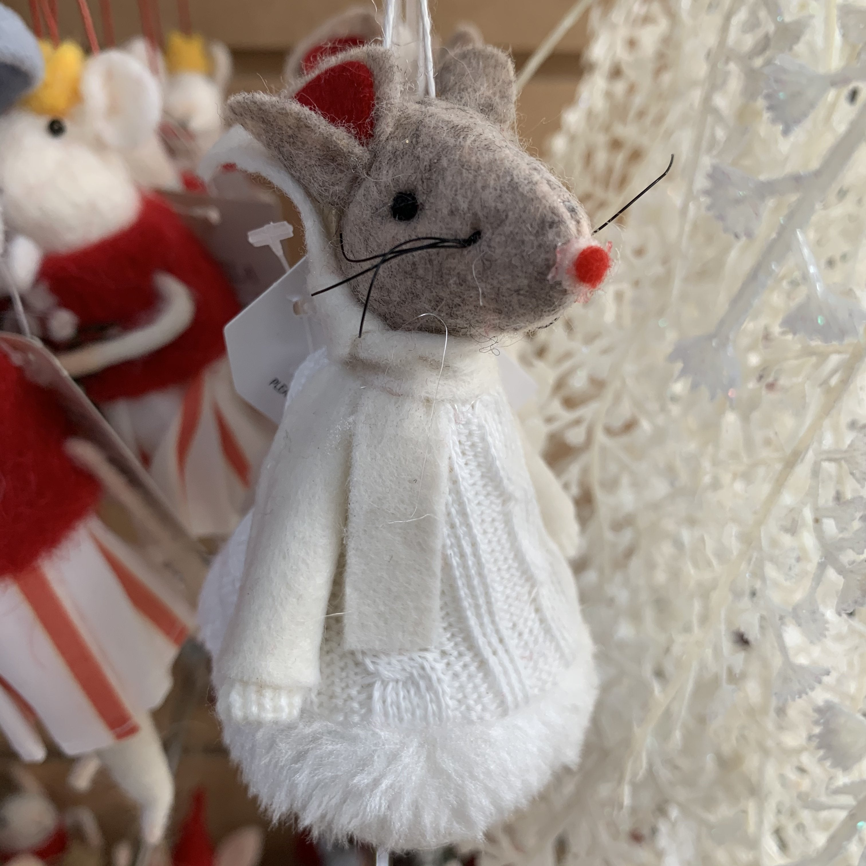 FABRIC MOUSE IN WHITE DRESS TREE DECORATION