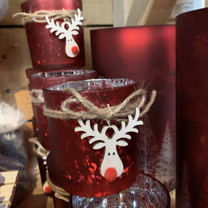 METALLIC RED WITH RUDOLPH T LIGHT HOLDER