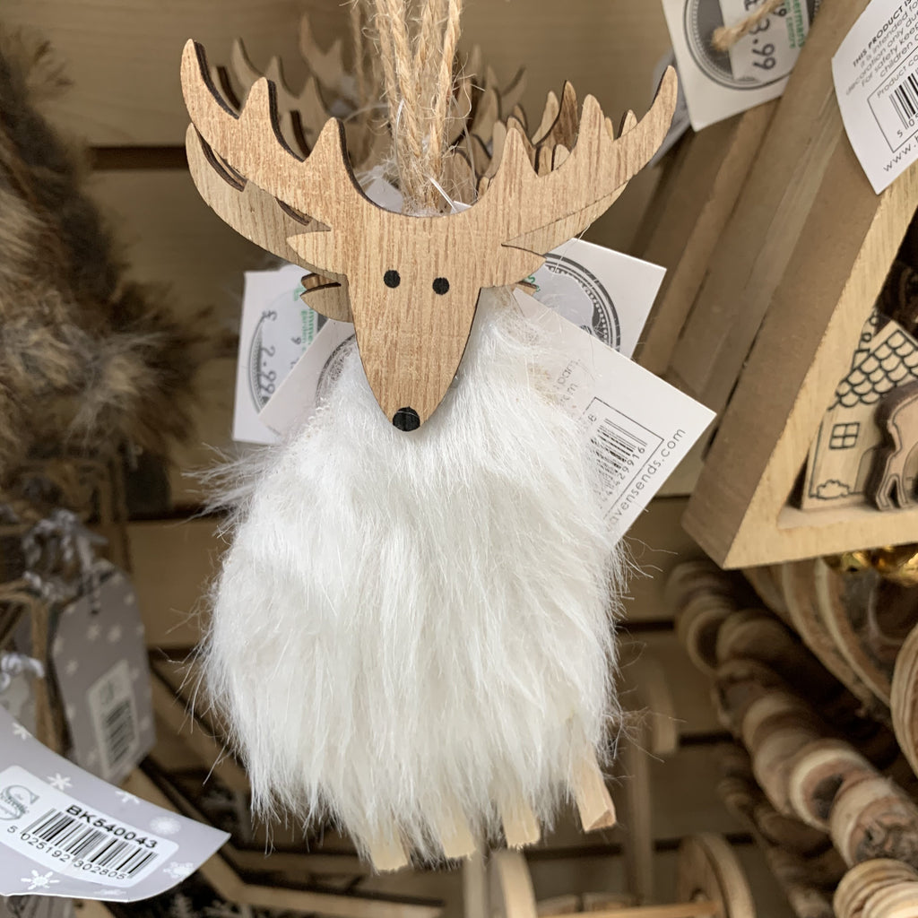 HANGING FLUFFY WOOD REINDEER