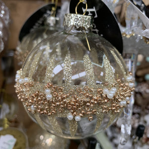 8CM CLEAR GLASS BALL WITH GLITTER AND GEMS