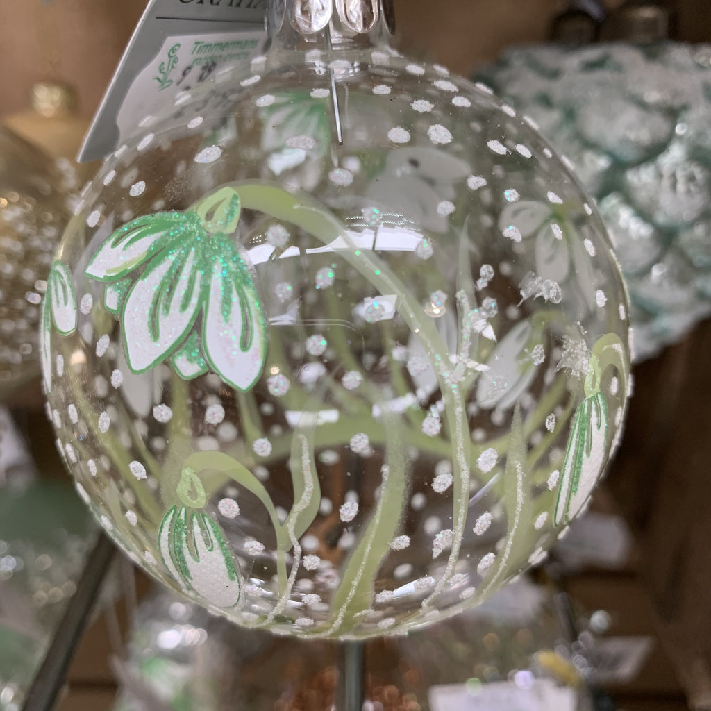 CLEAR GLASS BALL WITH PAINTED SNOWDROPS