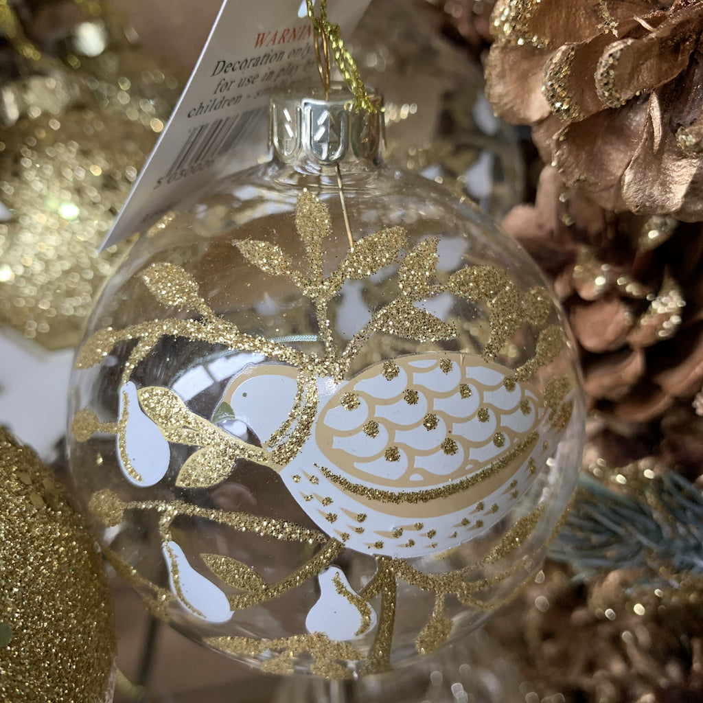 CLEAR GLASS BALL WITH PARTRIDGE IN A PEAR TREE