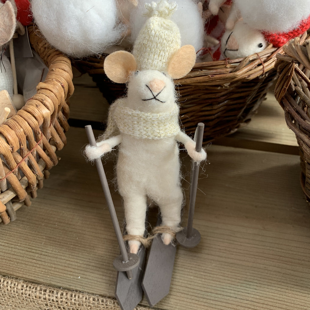WOOL MIX WHITE MOUSE ON SKIS DECORATION