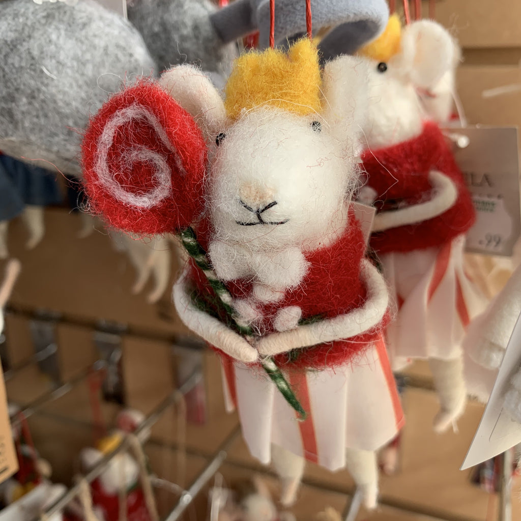 WOOL MIX MICE GIRL WITH LOLLIPOP TREE DECORATION