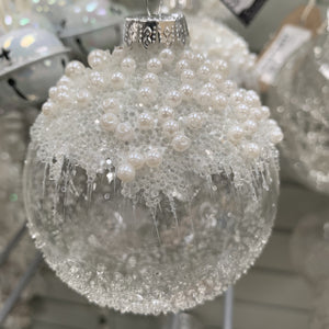 GLASS BAUBLE ICE LOOK WITH PEARLS