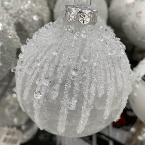 GLASS BAUBLE ICY BEAD FINISH